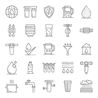 Zestaw ikon wody filtracyjnej. zarys zestaw ikon wektorowych filtr wody
