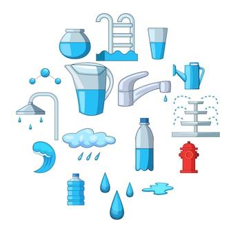 Zestaw ikon wody, stylu cartoon