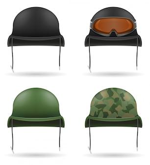 Zestaw ikon wojskowych hełmów.