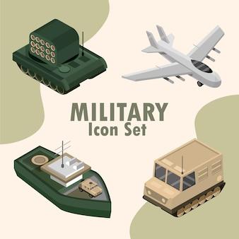 Zestaw ikon wojskowych obejmuje samolot, czołg, ilustrację statku