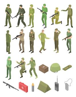 Zestaw ikon wojskowych żołnierza, styl izometryczny
