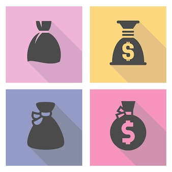 Zestaw ikon worek pieniędzy