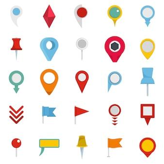 Zestaw ikon wskaźnika mapy