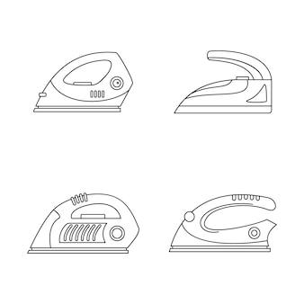 Zestaw ikon wygładzania przeciągania żelazka