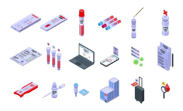 Zestaw ikon wyników testu. izometryczny zestaw ikon wektorowych wyników testu do projektowania stron internetowych na białym tle