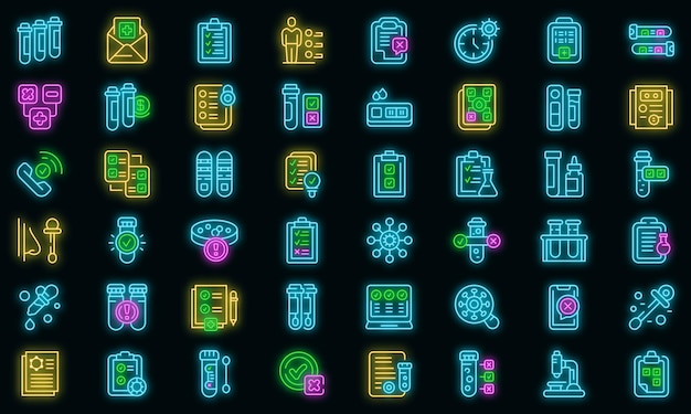 Zestaw ikon wyników testu. zarys zestaw ikon wyników testu wektor neon kolor na czarno