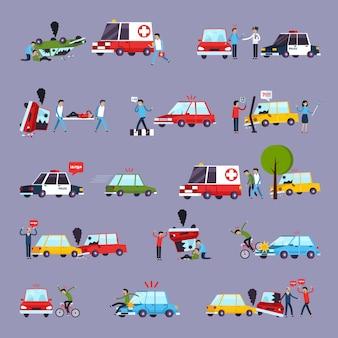 Zestaw ikon wypadków drogowych