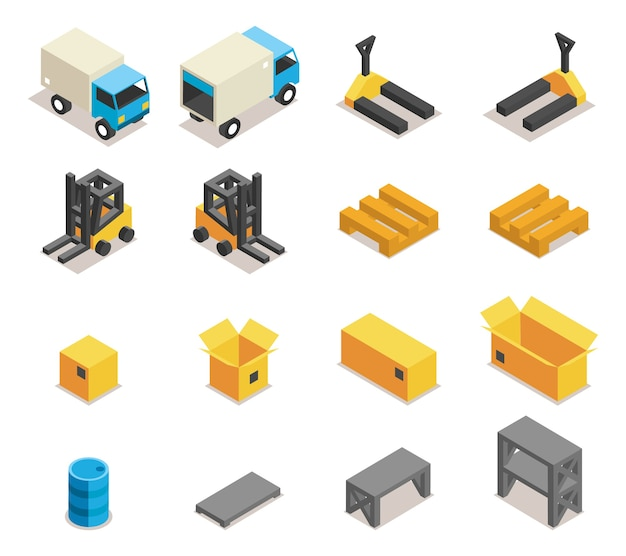 Zestaw ikon wyposażenia magazynu. transport i wózek widłowy, ładunek i skrzynia, logistyka i dostawa,