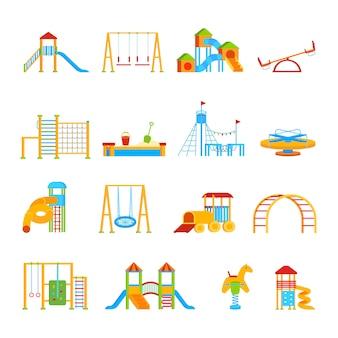 Zestaw ikon wyposażenia placu zabaw