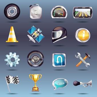 Zestaw ikon wyścigów samochodowych