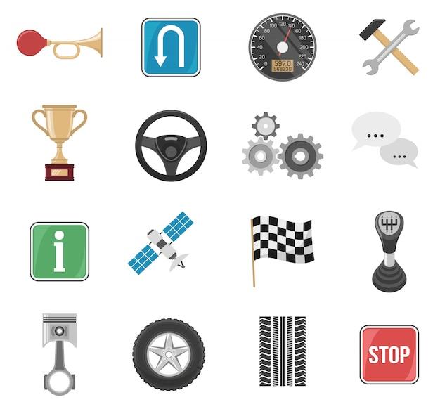 Zestaw ikon wyścigowy samochód