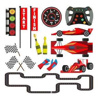 Zestaw ikon wyścigowych samochodów sportowych