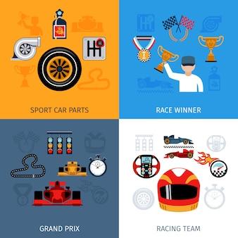 Zestaw ikon wyścigowych