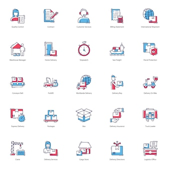 Zestaw ikon wysyłki i dostawy