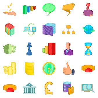 Zestaw ikon wyszukiwania pracownika, stylu cartoon