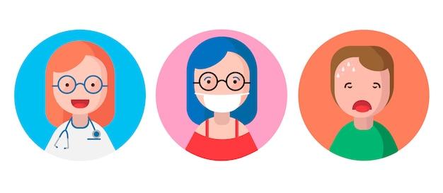 Zestaw ikon z ludźmi. pojęcie opieki medycznej