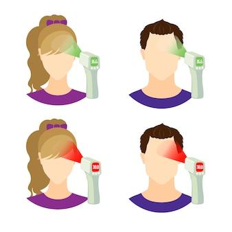 Zestaw ikon z osobami zdrowymi i chorymi z bezdotykowym termometrem na podczerwień, który pokazuje temperaturę.