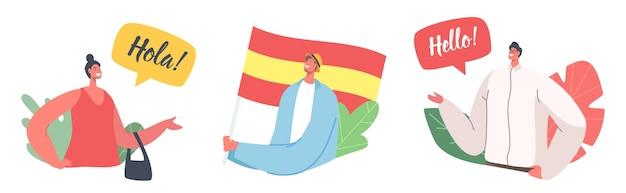 Zestaw ikon z postaciami mówić w języku hiszpańskim. ludzie z flagą hiszpanii, nauczyciele lub uczniowie mówią hola lub cześć, rozmawiają i komunikują się. nauczanie lekcji języka hiszpańskiego. ilustracja kreskówka wektor