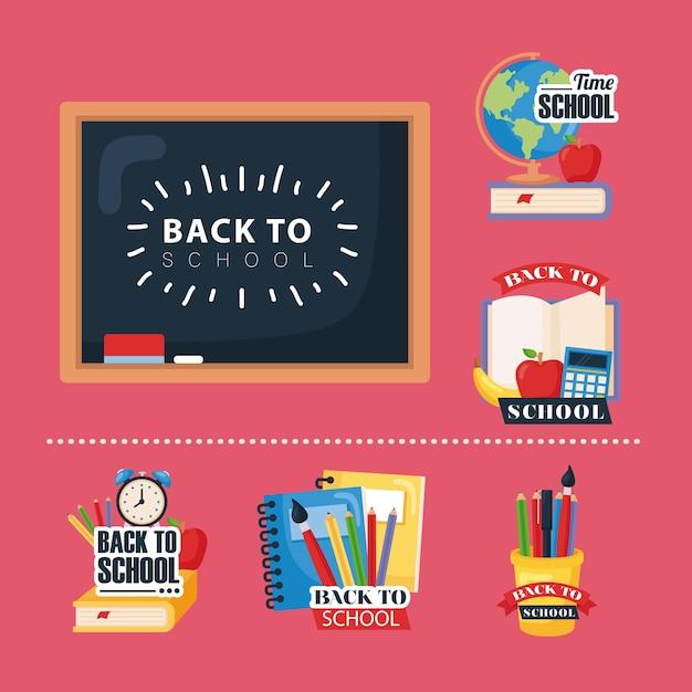 Zestaw ikon z powrotem do szkoły