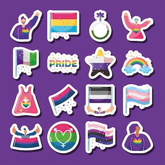 Zestaw Ikon Z Symbolami Społeczności Lgbtq Premium Wektorów
