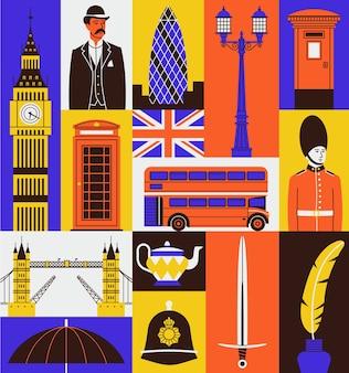 Zestaw ikon z wielkiej brytanii. big ben, pan, kabina telefoniczna, flaga, czerwony autobus, strażnik, london bridge, herbata, miecz, atrament.