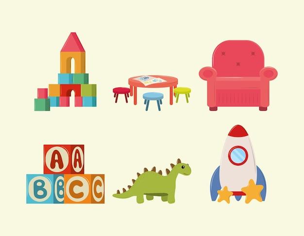 Zestaw ikon zabawek dla dzieci