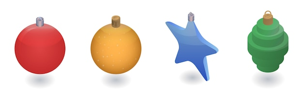 Zestaw ikon zabawki choinkowe. izometryczny zestaw zabawek choinkowych wektorowe ikony na projektowanie stron internetowych na białym tle
