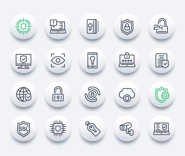 Zestaw ikon zabezpieczeń i ochrony