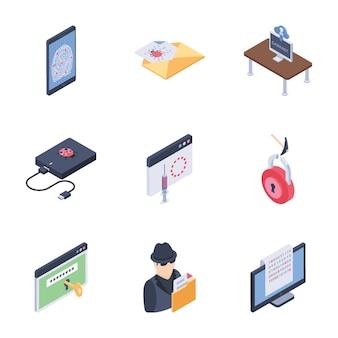 Zestaw ikon zabezpieczeń internetowych