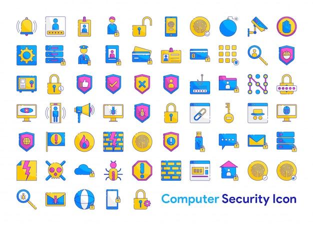 Zestaw ikon zabezpieczeń komputera