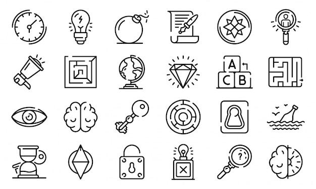 Zestaw ikon zadań, styl konturu