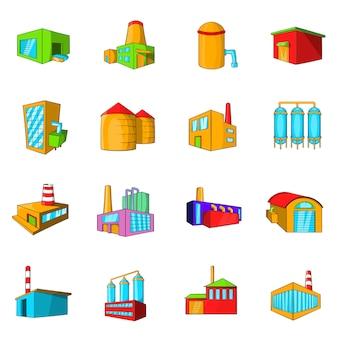 Zestaw ikon zakładów przemysłowych i fabryk