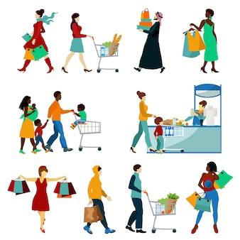 Zestaw ikon zakupów ludzi