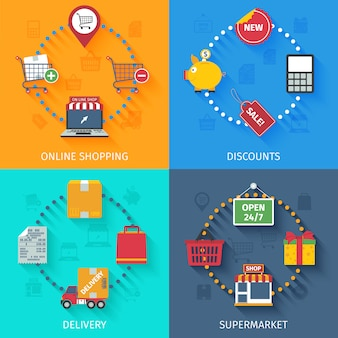 Zestaw ikon zakupów