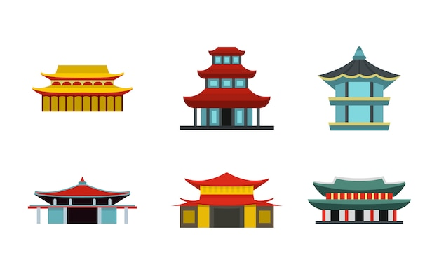 Zestaw ikon zamku azji. płaski zestaw azjatyckich zamek wektor ikony kolekcja na białym tle
