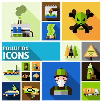 Zestaw ikon zanieczyszczenia