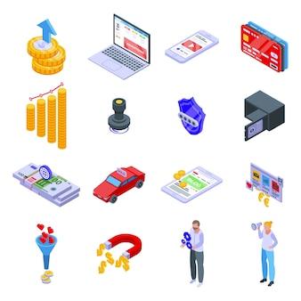 Zestaw ikon zarabiania. izometryczny zestaw ikon monetyzacji dla sieci na białym tle