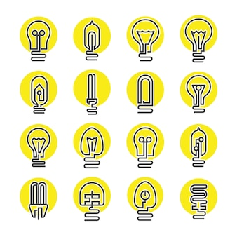 Zestaw ikon żarówki i lampy led
