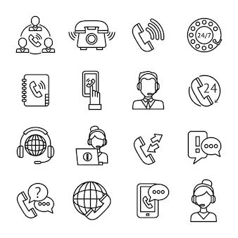 Zestaw ikon zarys centrum telefonicznego