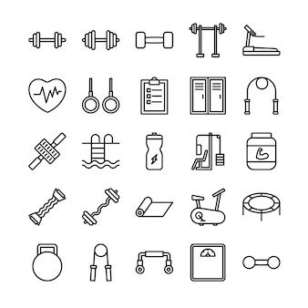 Zestaw ikon zarys fitness