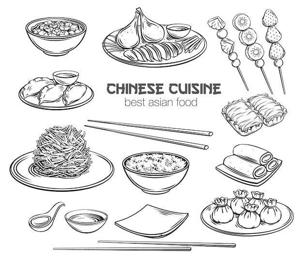 Zestaw ikon zarys kuchni chińskiej kuchni azjatyckiej