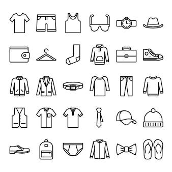 Zestaw ikon zarys męskiej mody