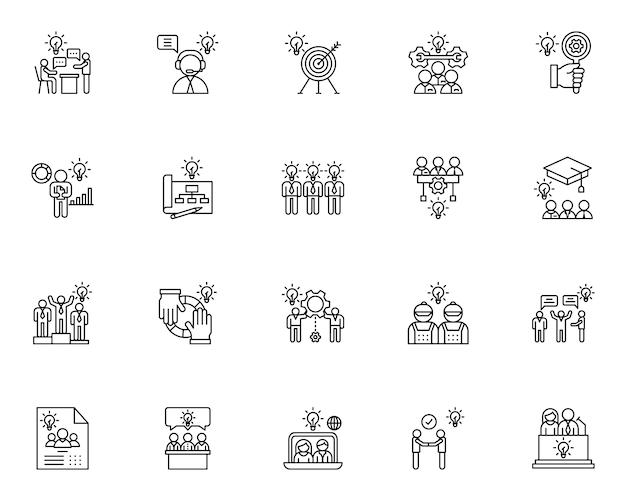 Zestaw ikon zarys pracy zespołowej
