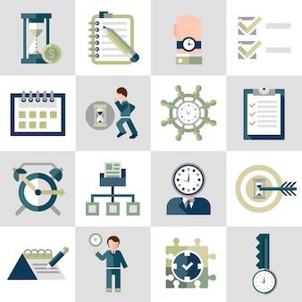 Zestaw ikon zarządzania czasem
