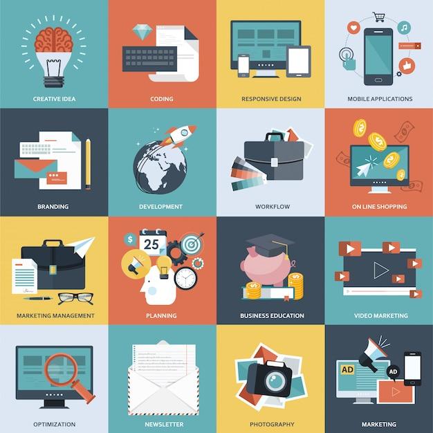 Zestaw ikon zarządzania przedsiębiorstwem i technologii