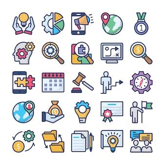 Zestaw ikon zarządzania przedsiębiorstwem