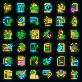 Zestaw ikon zasiłku. zarys zestaw ikon wektorowych zasiłku w kolorze neonowym na czarno