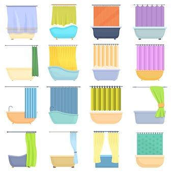 Zestaw ikon zasłony prysznicowej. kreskówka zestaw ikon zasłona prysznicowa dla sieci web