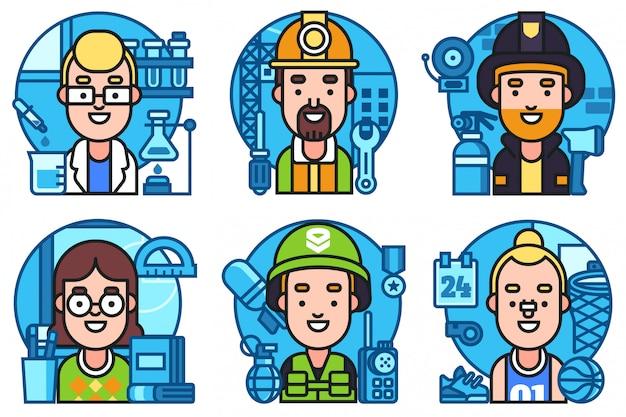Zestaw ikon zawodów pracowników zestaw ikon