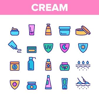 Zestaw ikon zdrowe elementy krem